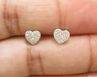 Heart earrings with Cz  - Sterling silver