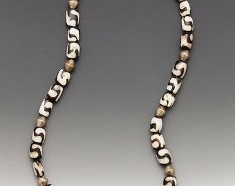 14 Cows Necklace: batik cow bone and bi-cone silver