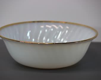 Vintage Fire King Ware Milk Galss Serving Bowl with Gold Trim