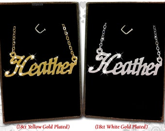 Name Necklace Heather - 18K Gold Plated, Czech Rhinestones