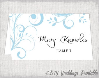printable place card template capri blue scroll name cards diy wedding place cards light