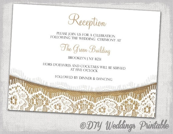 Wedding Welcome Dinner Invitation Wording: Rustic Reception Invitation Template Download DIY Printable