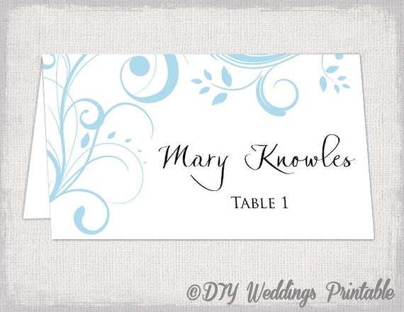 Printable place card template capri blue scroll for Avery printable place cards