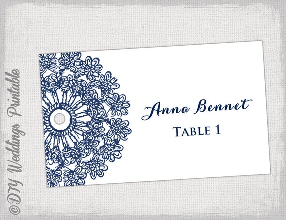 escort cards template lace doily navy place cards. Black Bedroom Furniture Sets. Home Design Ideas