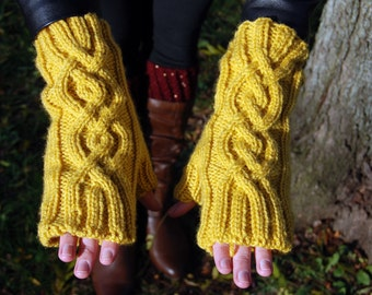 SALE! Fingerless Knit Gloves, Cable Pattern Long Knit Gloves in Mustard Yellow