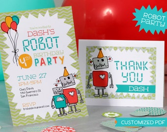Custom Robot Party Invite and Thank You Card