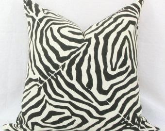 Black & ivory zebra print pillow cover 18x18 pillow cover black white pillow Zebra print pillow Animal print pillow Black decorative pillow