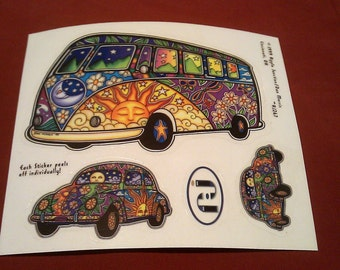 "Hippie VW Bus Van Bug 3 Decal STICKER 6""x5.5"" new old stock"