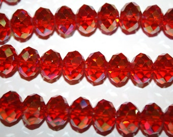 Red Faceted Rondelle Crystal Glass Beads - 12x9mm - 20ct - D254