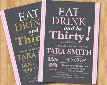 30th Birthday Invitation for Woman Polka Dot. 20th 21st 30th 40th 50th 60th any age. Adult birthday party. Pink or Any color. Printable.
