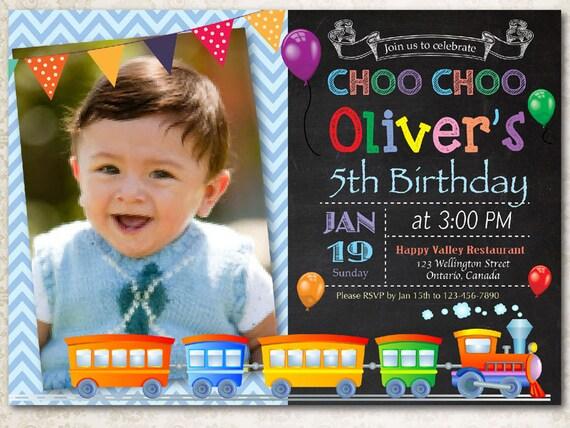 Choo choo train birthday invitation boy train birthday party like this item filmwisefo