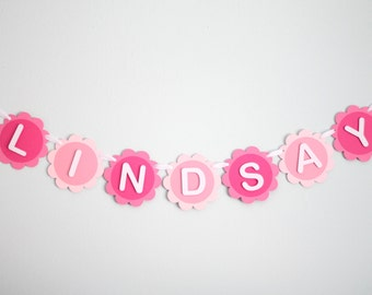 Personalized Baby Girl Name Banner-Pink