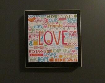Love subway art  wood magnet