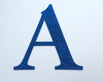 Die Cut Glitter Cardboard Letter or Number - Medium: 2 inch / 5cm - Option to have adhesive / sticker letter!