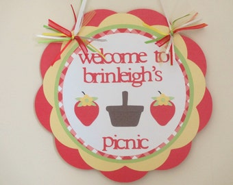 Strawberry Berry Door Welcome Sign Banner Birthday Party Shower Red Green Yellow Summer Picnic