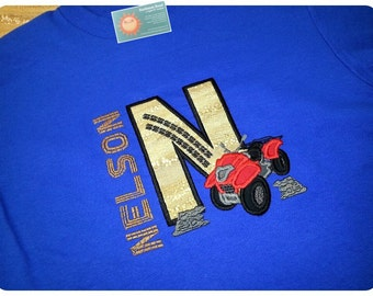 Boy's Four Wheeler Shirt with Number or Initial Shirt and Embroidered Name
