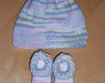 Knit Baby Set - Variegated Baby Hat and Booties - Knit hat and booties set - 6 Months