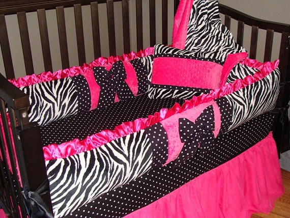 Baby Bedding Crib Set Hot Pink And Zebra Minky Blanket