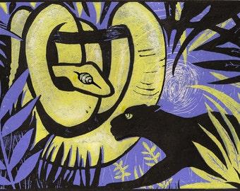 "Kaa and Bagheera - Scene from ""The jungle book"" - framed linocut"