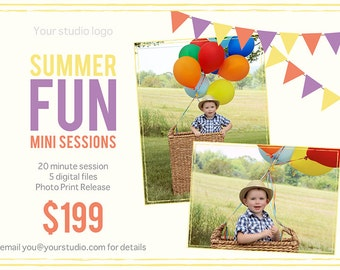Summer Mini Session Template, Summer PSD Template, Summer Minis, Photographer Templates, Summer Minis Template, Photo Prop