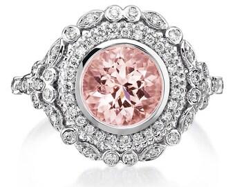 Morganite Engagement Ring 2.28ct 18k White Gold & Double Halo Diamond Vintage Morganite Engagement Ring Wedding Ring Anniversary