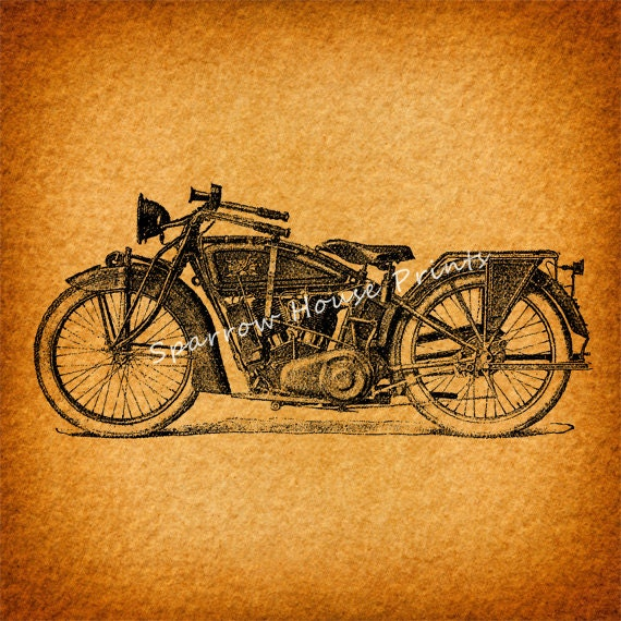 Classic Motorcycle Antique Wall Art Home Decor Vintage