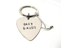 Baby Daddy Father Keychain Silver Hand Stamped Guitar Pick Charm Funny DIY Man Mens Dude Guy Anniversary Birthday Father's Day Gift Family