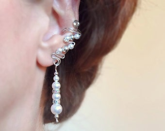 Sterling Silver and Swarovski Pearls Drop Ear Cuffs, pair, elegant and comfortable for a special occasion, no pierced ears needed