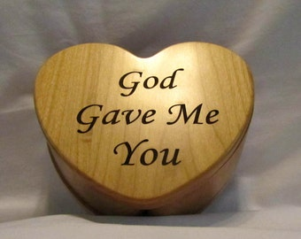 Personalized Wooden Heart Keepsake Box- God Gave Me You