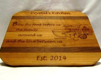 Personalized Cutting Board - Custom Engraved Bless Us - For Christmas and Wedding Gifts