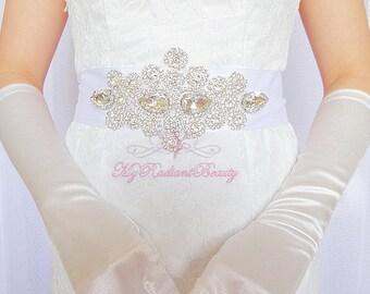 Bridal Sash, Rhinestone Sash, Handmade Sash, Vintage Rhinestone Sash Belt, Beaded Sash, Luxurious Sash, Wedding Sash, Diamond Sash SB0011