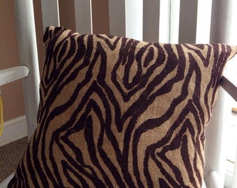 Brown zebra print burlap throw pillow