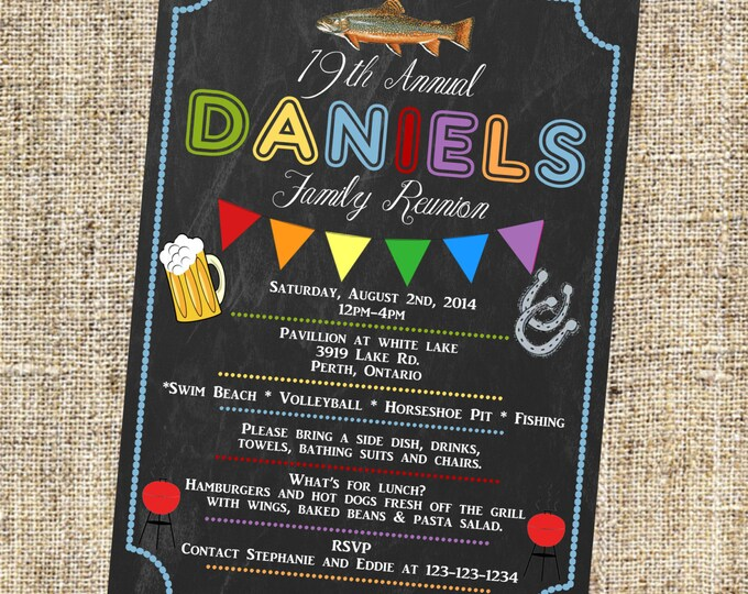 Family Reunion Inviation, BBQ Invitation, Reunion Invitation, Get together Invitation, Fishing Invitation, Beer Invitation
