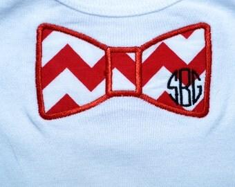 Bowtie Applique Machine Embroidered Onesie or Shirt with Monogram