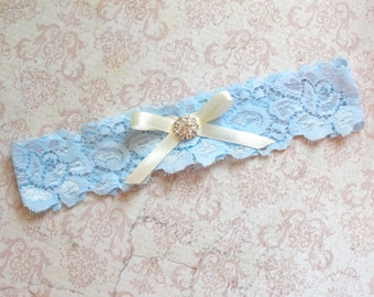 Wedding Garter Belt, Garter Wedding, Something Blue Garter, Bridal Garter, Custom Garter, Blue Garter, Ivory Garter, Vintage Bridal