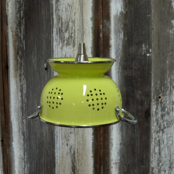 Lime Green Colander Pendant Light SMALL By MelroseHomeMarket