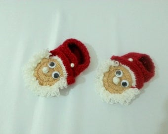 Christmas Hand Knitted Wool Shoes For Children