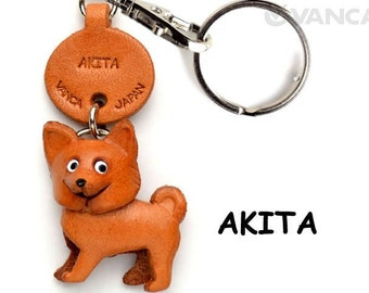 Akita Dog 3D Leather Dog Keychain Keyring Purse Charm Zipper pull Accessory *VANCA* Made in Japan #56778 Free Shipping