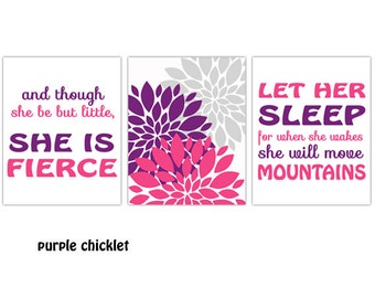 Let Her Sleep Move Mountains And Though She Be But Little She is Fierce Wall Art Set Flower Art Pink Purple Nursery Room Art Prints 141(ab)