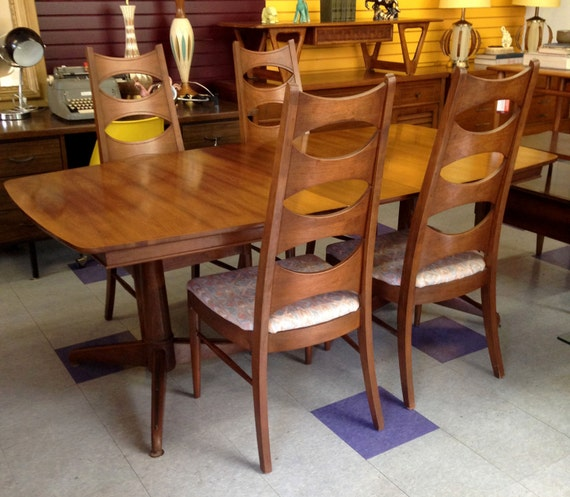 Kent coffey perspecta dining set table and highback chairs