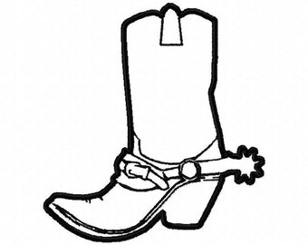Machine Embroidery Design,  cowboy boot applique' with a spur, #267