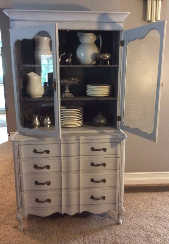 items similar to antique distressed chest of drawers with glass door curio china cabinet on etsy. Black Bedroom Furniture Sets. Home Design Ideas