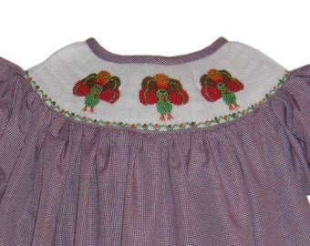 Hand Smocked Purple Gingham Turkey Dress