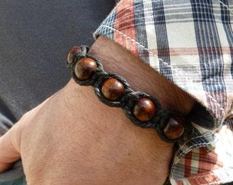Chunky Wooden Bead Bracelet Unisex Adjustable  Wood Bead Macrame Bracelet