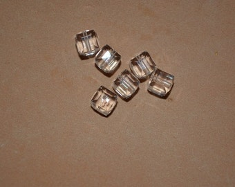 6 - 6mm Genuine Swarovski Crystal Cube Beads - Clear
