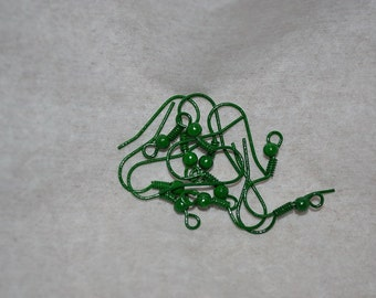 10 Bright Green Ball and Spring Hook Earwires (3085003)