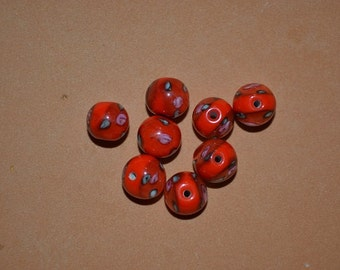 Destach - 8mm Lampwork Rose Beads