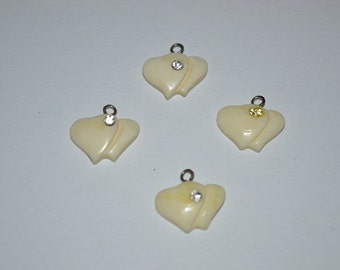 4 - Vintage Double Heart, bone charms. (1060007)
