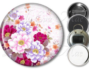 Japanese Floral Pocket Mirror, Compact Mirror, Small Mirror, Fridge Magnet, Bottle Opener Key Ring, Pin Back Button, Badge, Make Up Mirror