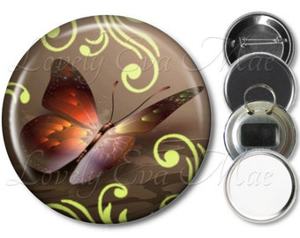 Butterfly Pocket Mirror, Magnet, Bottle Opener Key Ring, Pin Back Button